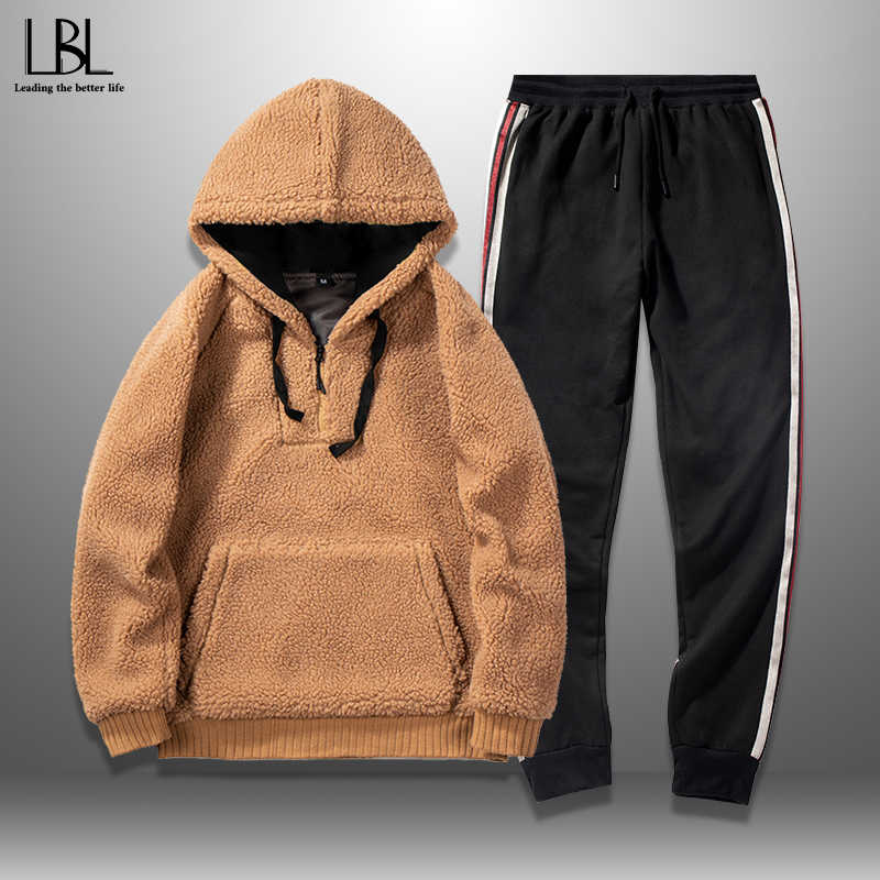Hooded Tracksuits Men Winter New Fashion Mens Hoodie Set Thick Track Suit Male Hoodie + Pants Two Pieces Sets Men's Sportswear