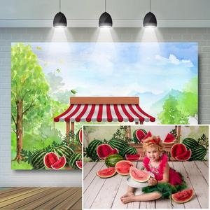 Фон для фотосъемки с изображением арбуза и стенда для детей, художественный торт для фотосъемки, Вечерние Декорации для дня рождения