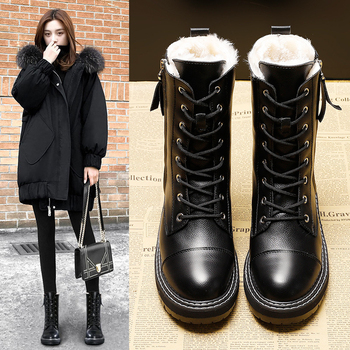 Snow Boots Women 2019 New Winter Female Waterproof Antiskid Martin Fur Leather Warm Platform - discount item  45% OFF Women's Shoes