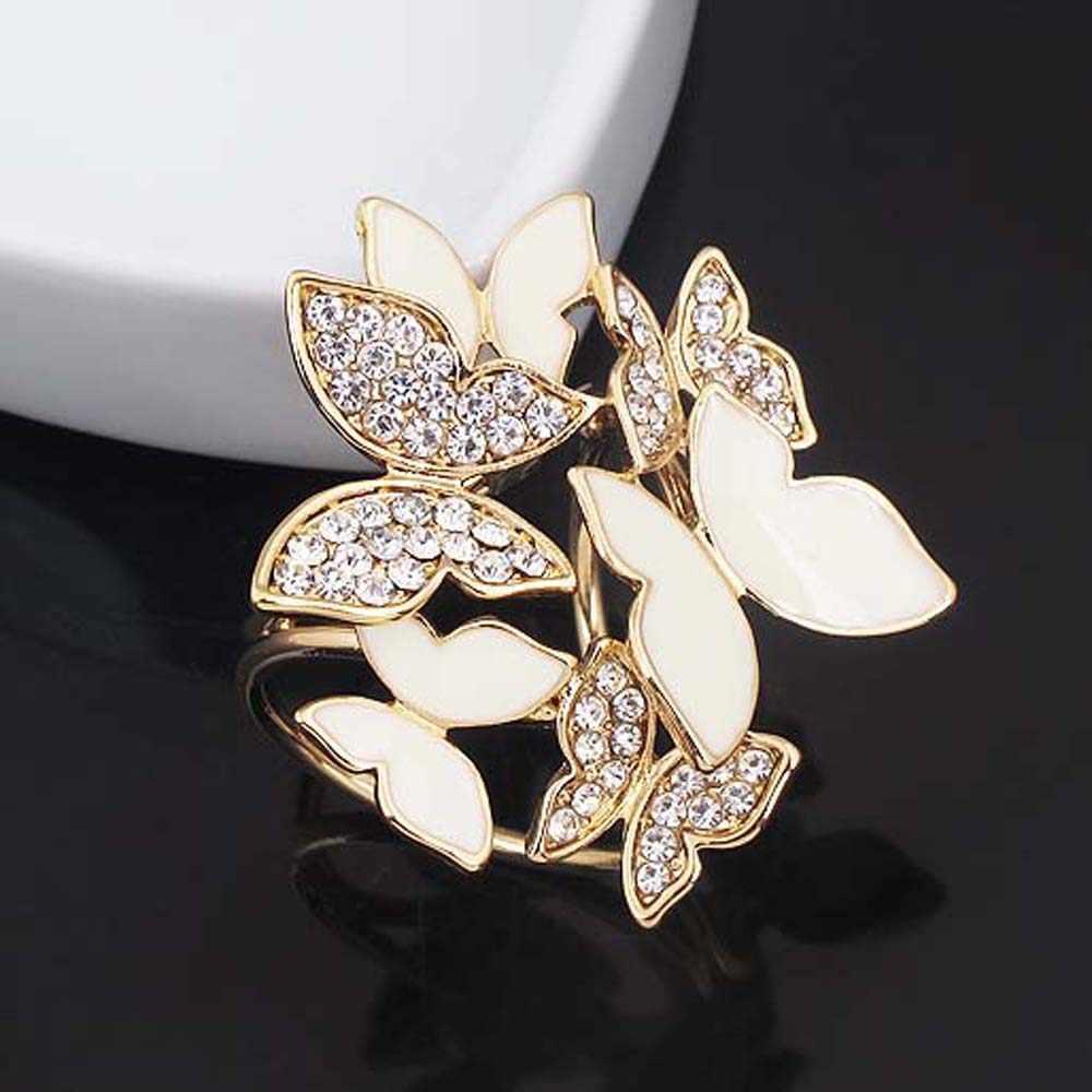 Elegan Kupu-kupu Berbentuk Syal Gesper Bros Pesona Kristal Berlian Imitasi Emas Lingkaran Pin Bros Wanita Perhiasan Aksesoris