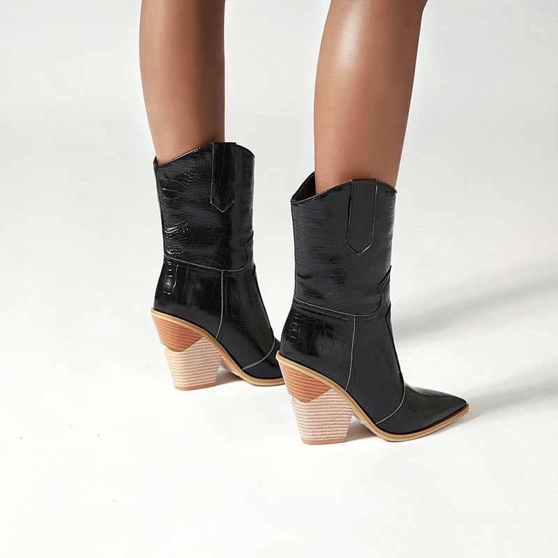 2020 artı boyutu 34-48 yeni kadın botları sonbahar kış ayakkabı kalın yüksek topuklu bayanlar kısa batı botları moda yarım çizmeler kadın