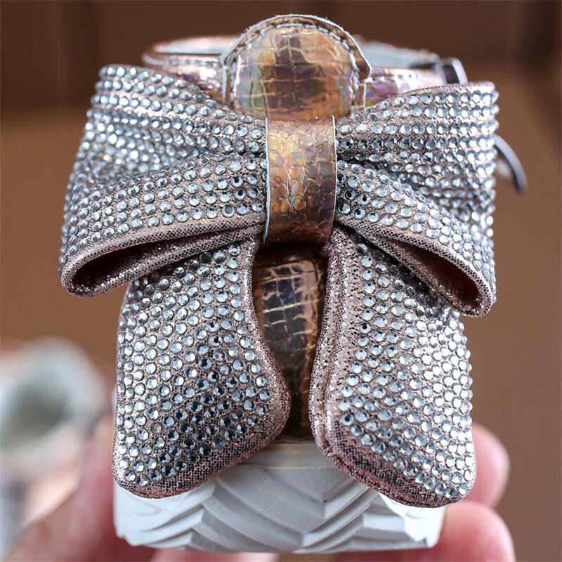 ULKNN אופנה בנות דירות בלינג Rhinestones Bow מרטין נעלי נקבה בייבי לפעוטות נעליים רך תחתון רוכסן ילדים ספורט