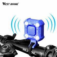 WEST Cycling-sonnette de vélo, 4 lampes, 140 mAh, klaxon électrique étanche, alarme sonore, chargeur USB, alarme de sécurité, 1200 dB