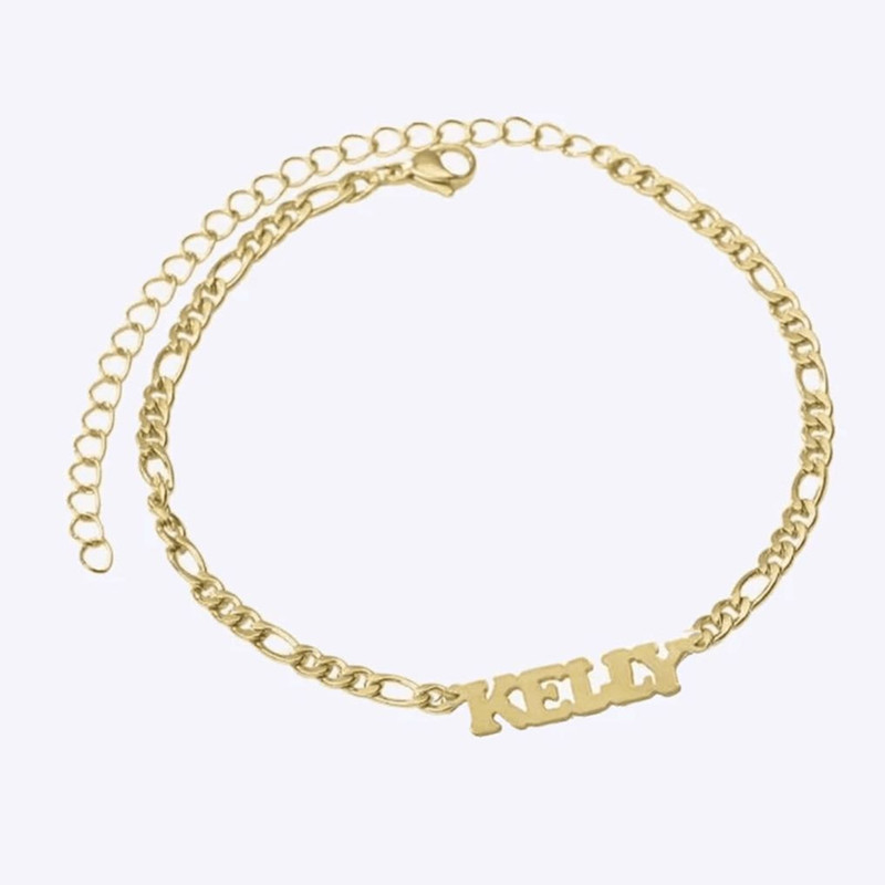 Gold Filled Figaro Chain Anklets Custom Names Anklet Bracelet For Women Men Personalized Jewelry Pulsera De Pie Acero Inoxidable