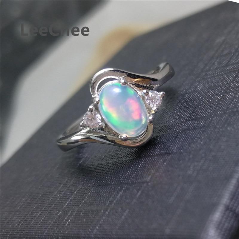 LeeChee-Anillo de ópalo 100% Natural para mujer, regalo de compromiso de boda, 5x7mm, piedra preciosa colorida, joyería fina plata de ley 925 auténtica