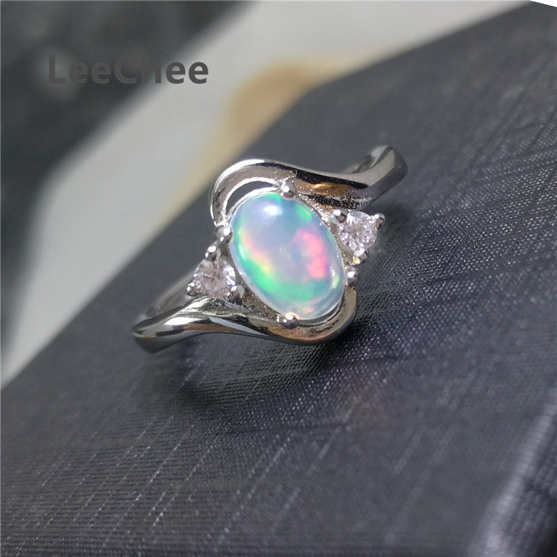 LeeChee 100% Natural Opal Ring for Women Wedding Engagement Gift 5*7mm Colorful Gemstone Fine Jewelry Real 925 Sterling Silver