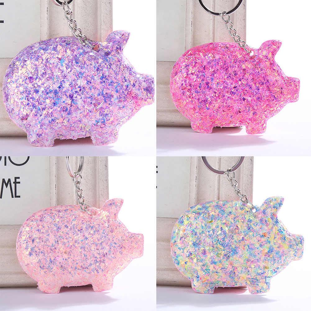 Multicolor Lantejoulas Porco Pingente Chaveiro Anel Chave Titular Bag Ornamento de Suspensão