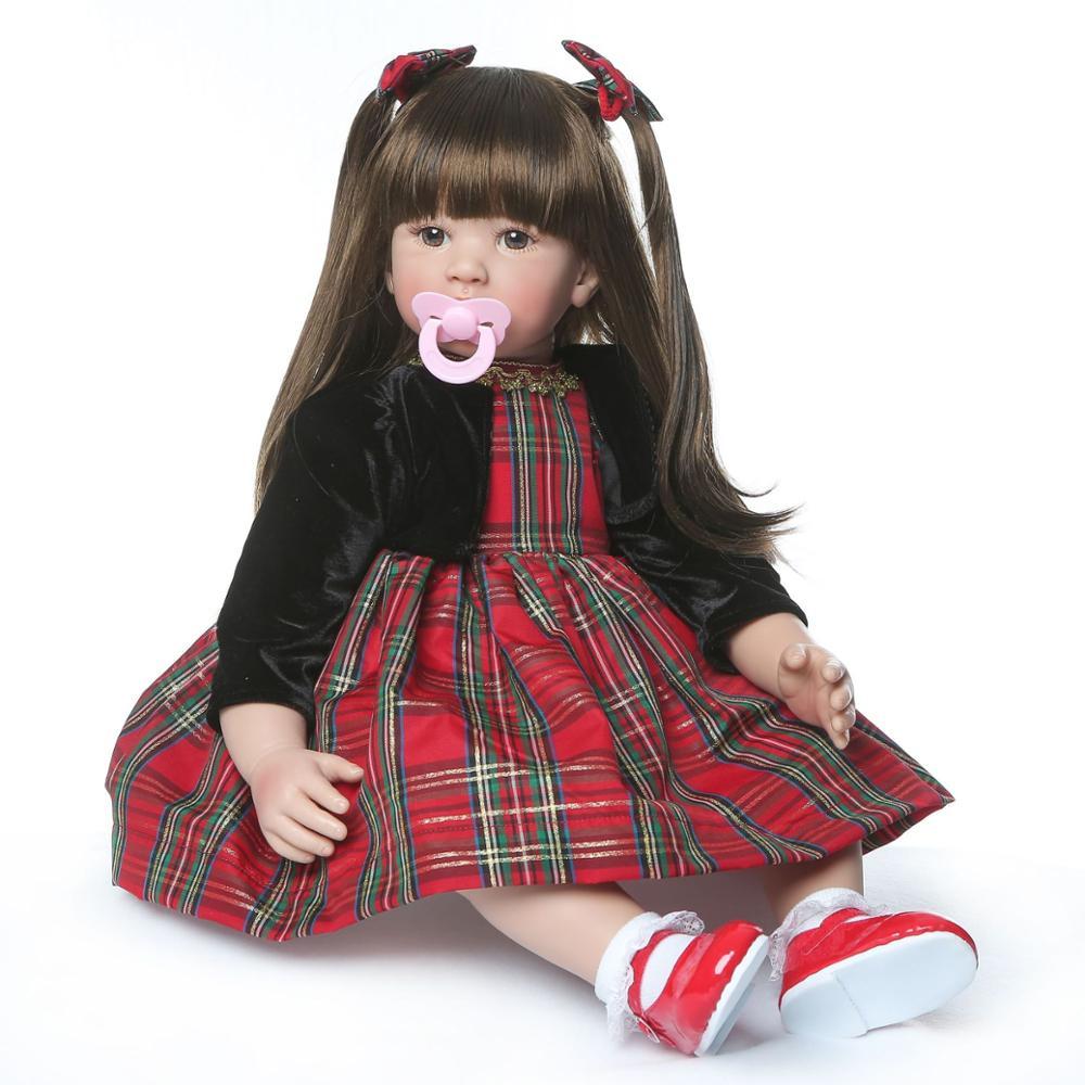 NPK poupée Reborn 60CM tissu de Silicone souple Reborn bébé poupées jouets en vinyle grandes poupées pour filles poupées cadeau de nouvel an avec mamelon