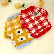 Клетчатая кофта в шотландскую клетку красный и белый клетчатый свитер желтый осень зима для щенка теплая одежда с цветком для домашних животных