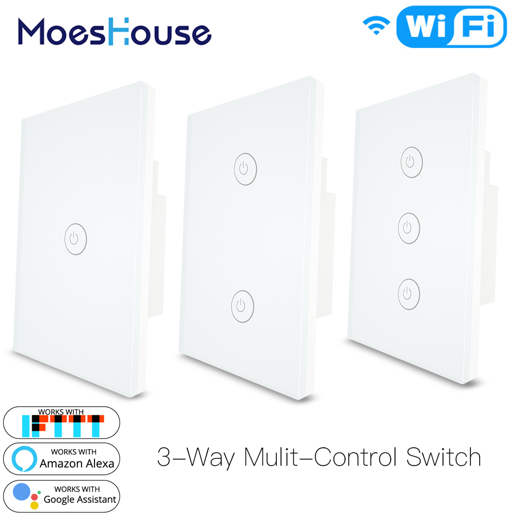 3 Way WiFi Smart Multi-Control  Light Switch Work With Alexa Google Home,No Hub Required Smart Life APP Remote Control