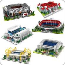 цена на Football Old Trafford Camp Nou Bernabeu San Sir Stadium Real Madrid Barcelona Club DIY Diamond Building Small Blocks Toy no Box