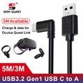 5 м 3 м USB-C кабель USB3.2 компактность с Oculus Quest Link правый угол type-c 3.2Gen1 скорость передачи данных Быстрая зарядка