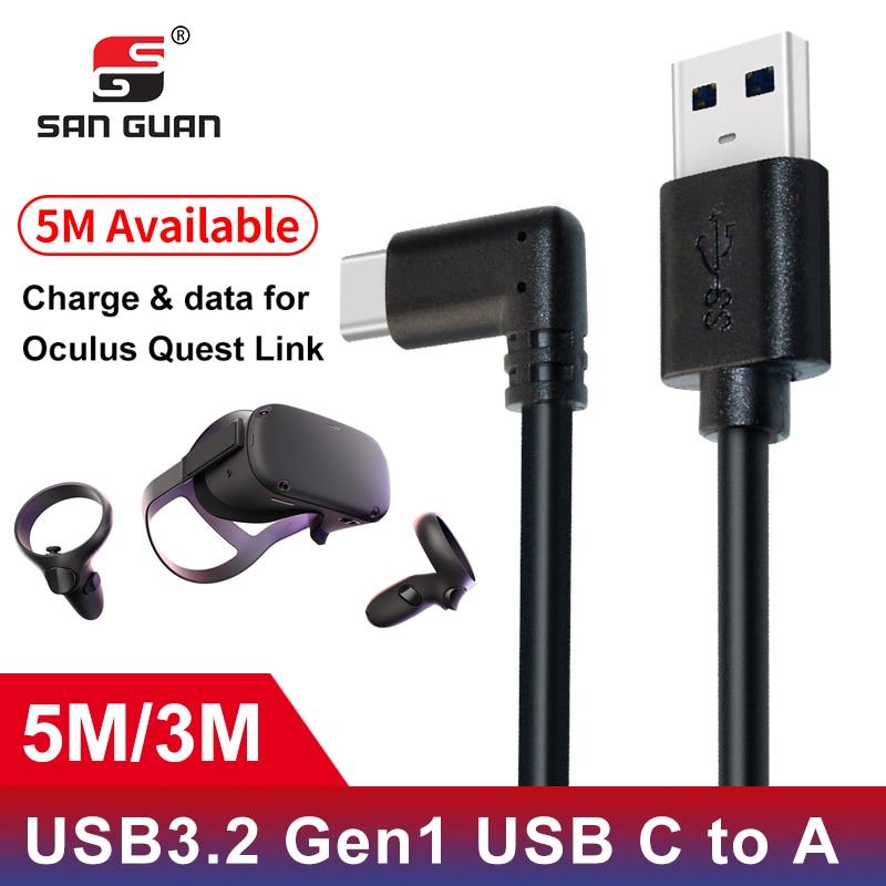 Cabo 5M 3M USB-C USB3.2 compatibilidade com o Óculo Busca Link em ângulo recto-c 3.2Gen1 Velocidade de Transferência de Dados de Carga Rápida
