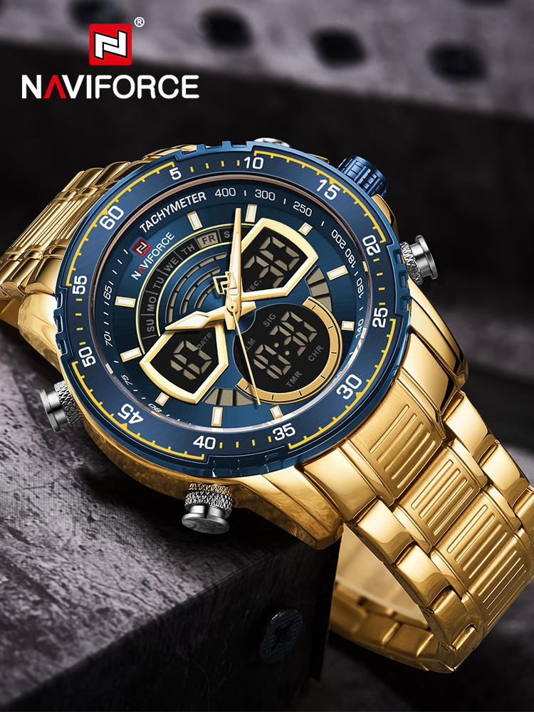 NAVIFORCE Mens Military Sports Waterproof Watches Luxury Analog Quartz Digital Wrist