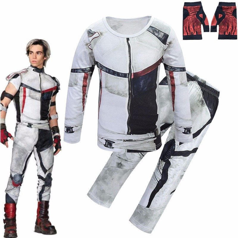 Kids Halloween Cosplay Costume Descendants 3 Jay Carlos Costumes Zentai Funny Party 3D Jumpsuits T-shirt+pants Clothing Sets