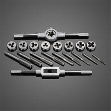 20 pc/set métrica torneira da mão e morrer conjunto M3-M12 rosca plugues retas ferramentas de reamer de atarraxamento torneiras ajustáveis ferramenta de mão chave de dados