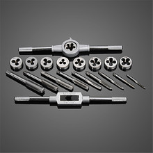 20pc/set Metric Hand Tap And Die Set M3-M12 Screw Thread Plugs Straight Taper Reamer Tools Adjustable Taps Dies Wrench Hand Tool