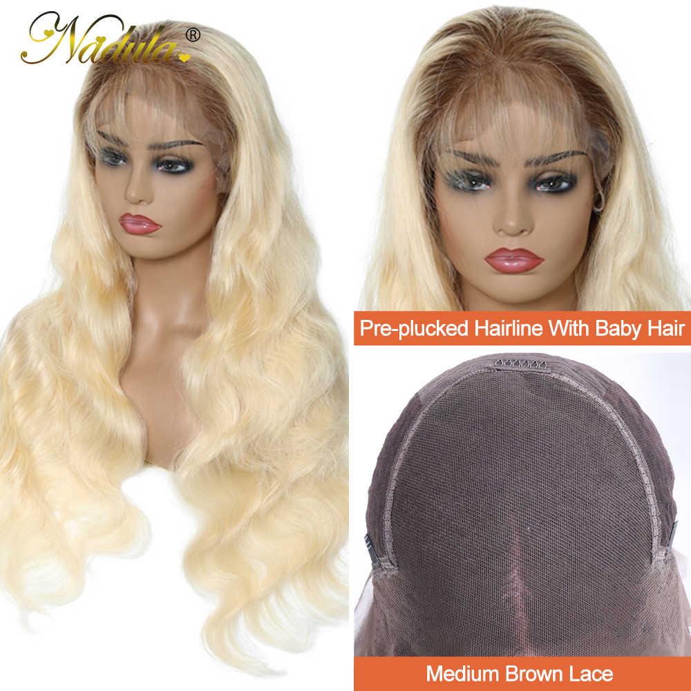 Nadula Echthaar Perücken 150% Dichte Ombre Blonde Pre-Gezupft Spitze Vorne Perücke 13x 4/13x 6 /360 spitze Frontal Perücke T4/613 Farbe