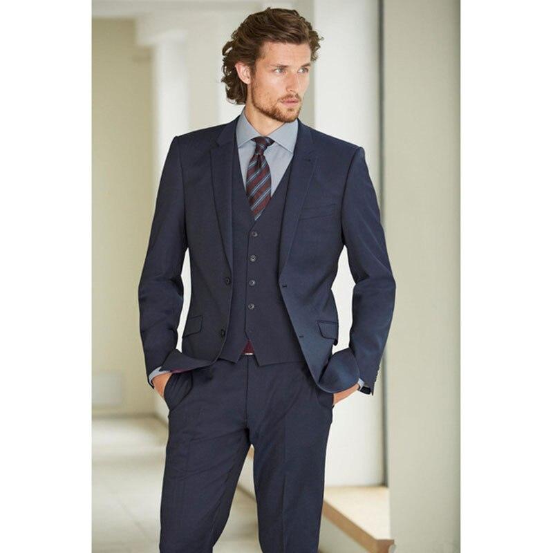 Simple Formal Men Business Party Suits Custom Made Blazer Slim Wedding Tuxedos Bridegroom Wear Groomsmen (Jacket+Pants+Vest)