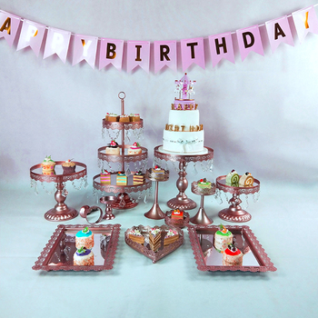 Crystal Metal Cake Stand Holder 7- 16 Pcs/Set Cupcake Serving Stand Display Rack Birthday Party Wedding Decoration Gold/White 1