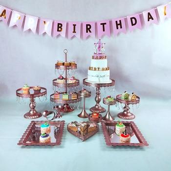 クリスタルメタルケーキスタンドホルダー7-16個/セットカップケーキサービングスタンドディスプレイラック誕生日パーティーウェディングデコレーションゴールド/ホワイト1