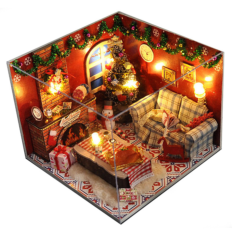 Miniature Christmas DIY Carnival Night Dollhouse Wooden Dolls House With LED