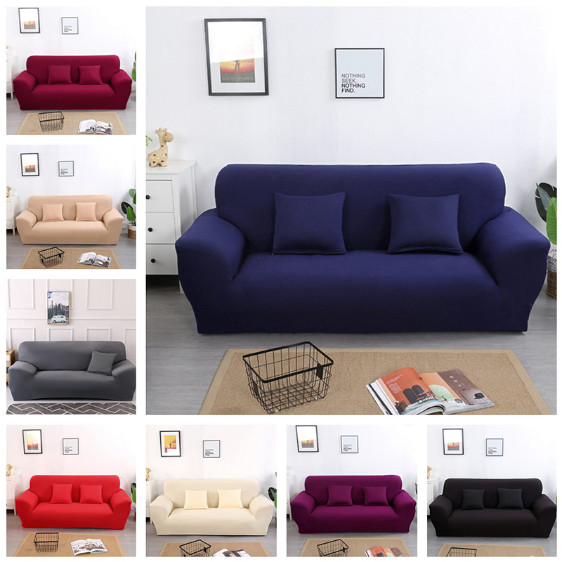 Universal Solid color <font><b>Sofa</b></font> Covers Elastic Stretch Couch Cover for Living room <font><b>Sofa</b></font> Furniture Protector Slipcovers 1/2/3/4 seater image