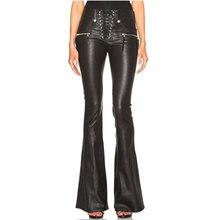 2018 automne grande taille pantalon noir pantalon femmes en cuir Pu pantalon Streetwear haute qualité angleterre Style jambe large solide pantalon