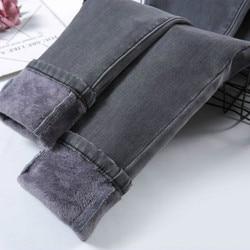 Cintura alta veludo densamente jeans feminino inverno 2019 magro estiramento das mulheres calças de brim quentes calças de brim mãe preto denim mais tamanho