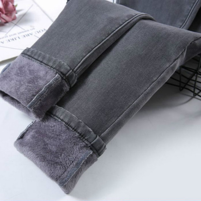 High Waist Velvet Thick Jeans Female Winter 2019 Skinny Stretch womens Warm Jeans womanPants Mom Black Denim Trousers plus size