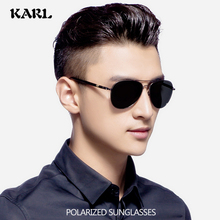 Men Pilot Sunglasses Polarized Alloy Springs Leg KARL Brand Designer Black Women Driving Glasses Goggle