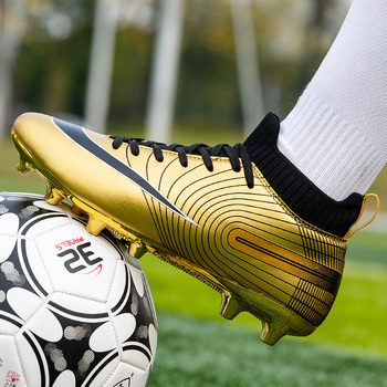 Golden Men Football Boots High Ankle  Shoes Soccer Cleats Boys Long Spikes TF Kids Sneakers Soft Turf Futsal