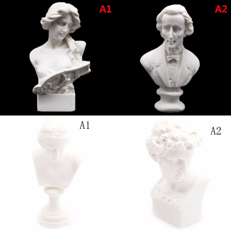 1/12 Dollhouse Miniature Furniture Simulation White Resin Venus David Bust Sculpture Pretend Play House Toys For Kids Children
