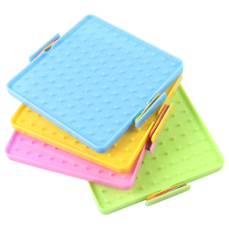 Plastic Nail Plate Primary Mathematics Nailboard Tool Geometry Demo Children Educational Toy Teaching Instrument Puzzle Game Toy