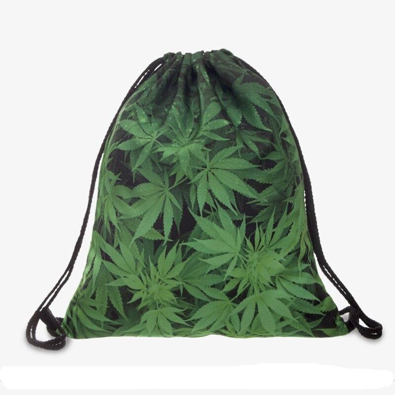 Fashion Drawstring Bag Green Leafs 3D Printed Mochila Cuerda Out Door Drawstring Backpack Women Men Modis String Bag Girl