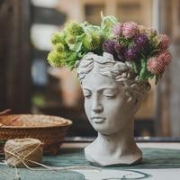 Europe Style Portrait Retro Art Vase Cement Head Flower Pot Flower Arrangement Vintage Art Vase Decoration Home Livingroom Decor