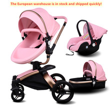 3 in 1 Brand European Luxury PU Leather Baby Stroller High View Prams
