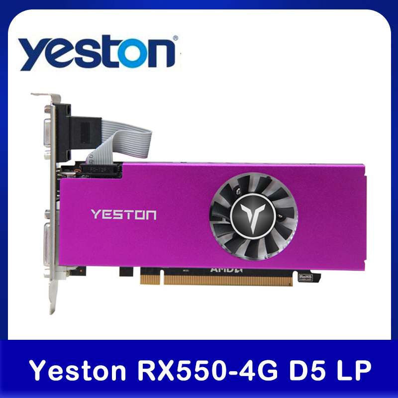Yeston RX550-4G d5 lp placa gráfica radeon frio 4gb memória gddr5 128bit 6000mhz vga + hdmi + DVI-D gpu computador placa de vídeo