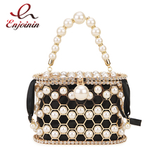 Beaded Pearl Evening Clutch Handbag Women Purses and Handbags Rhinestone Metal Honeycomb Clutch Purse Ladies Wedding Pearl Bags цена 2017