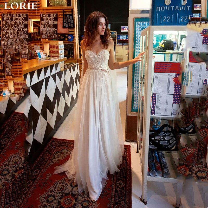 LORIE Boho Wedding Dress Spaghetti Strap Lace Sexy Bridal Dresses Sweetheart Neck Backless Boho Vestidos De Novia Wedding Gowns