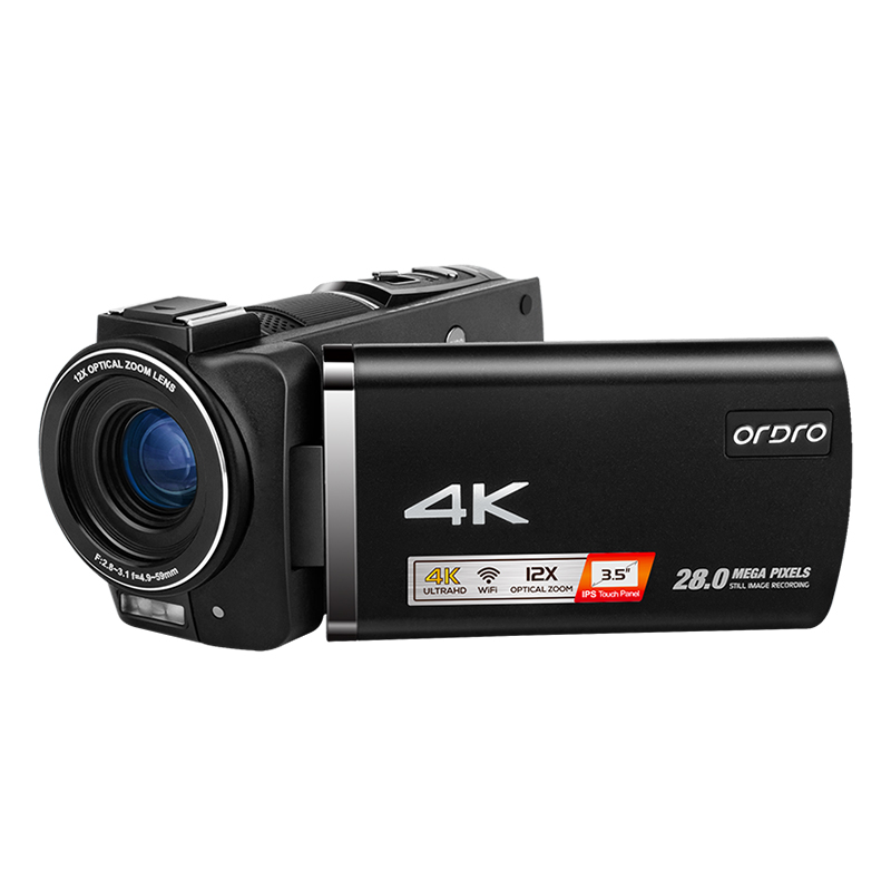 Ordro AX60 Vlog Video Camera Camcorder 4K for Blogger Live Stream, 3.5'' IPS Screen 12X Optical Zoom 1080P 60FPS Digital Cameras