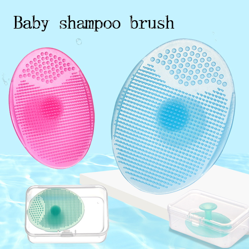 Baby Silicone Shampoo Brush Infant Massage Comb Bath Wipe Soft  Head Hair Wash Brushes Cleaning Care Tool