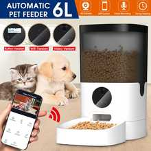 6L Smart Automatic Pet Feeder Visible Cover Pet Dog Cat Food Dispenser Remote Control APP Timer [Video/WiFi/Button Version]
