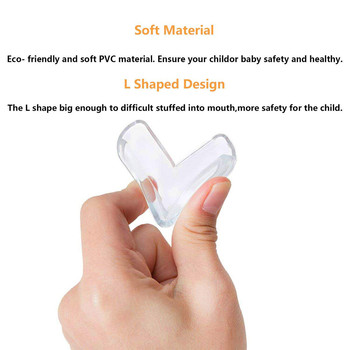12Pcs Corner Guards Baby Safety L Shape Transparent Protector Cover Children Protection Furnitures Edge Corner Guards Cover 5