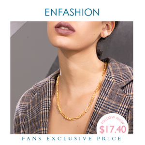 Image 1 - ENFASHION Long Link Chain Choker Necklace Women Gold Color Statement Necklace Lady Fashion Femme Jewelry Dropshipping P193059