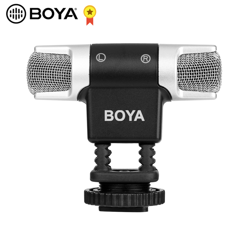 BOYA BY-MM3 Dual Head Stereo Recording Condenser Microphone for iPhone 8 Android Smartphone DSLR Camera DV Livestreaming Video image