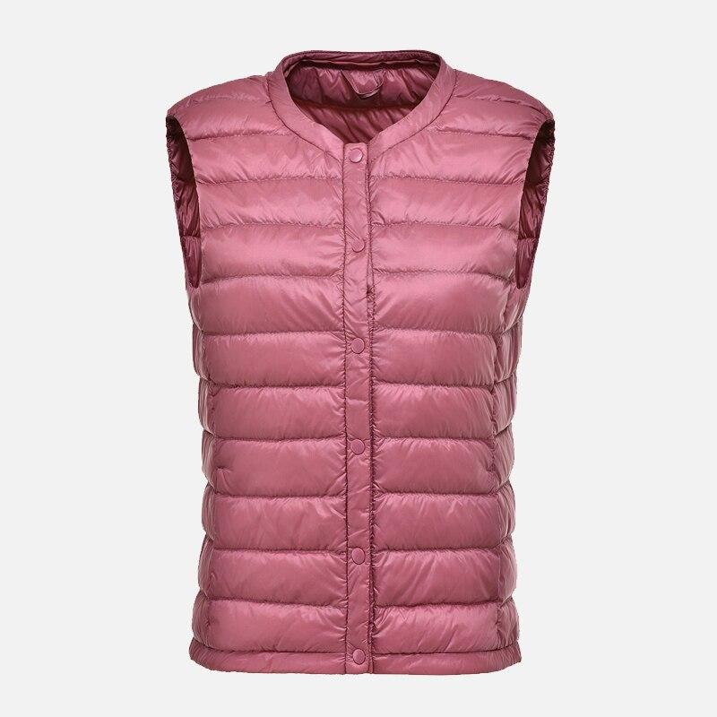 Women's Ultra Light Duck Down Vest Autumn Winter Warm Round Collar Sleeveless Coat 2019 Light Weight Korean All Match Thin Vests