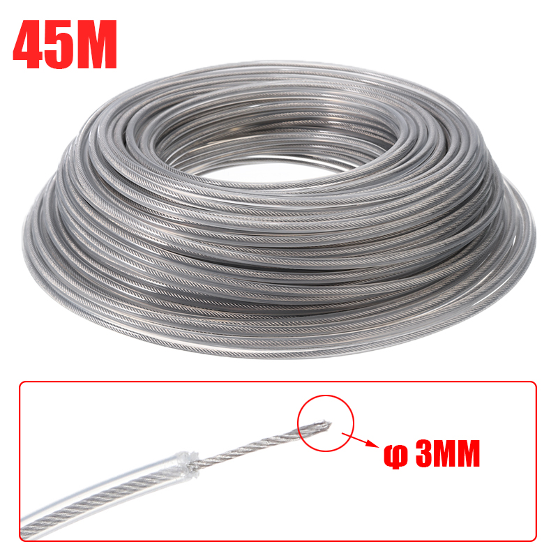 3mm Steel Wire Grass Trimmer Line Rope Strimmer Brushcutter Trimmer Cord Line Roll 45m Length For Garden Tool Parts
