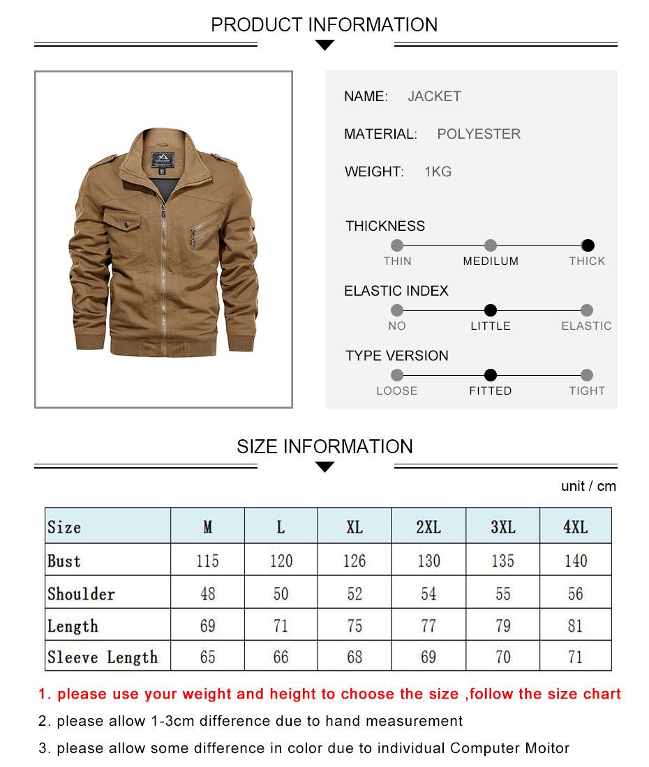 Army Tactical Bomber Jacket product information