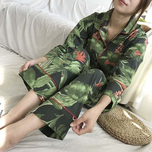 Image 4 - Frauen Frühling Herbst Pyjamas Set Natur Grün Lange sleeve Herbst Baumwolle Damen Koreanische Version Strickjacke + Hosen Komfort Homewear set